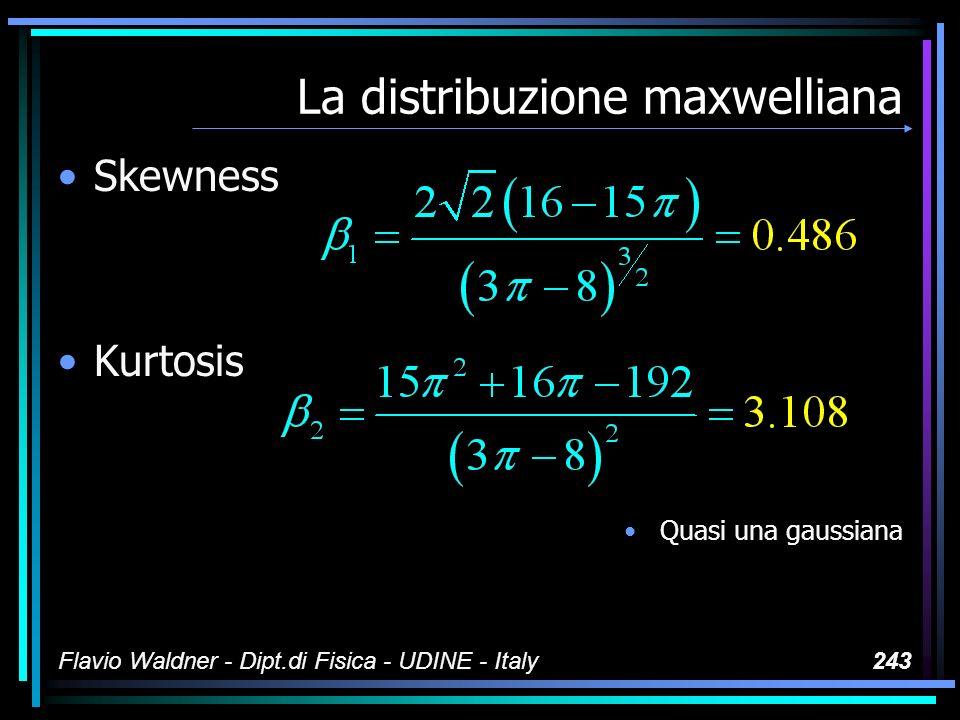 Flavio Waldner - Dipt.di Fisica - UDINE - Italy243 La distribuzione maxwelliana Skewness Kurtosis Quasi una gaussiana