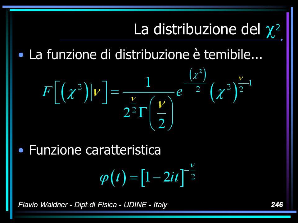 Flavio Waldner - Dipt.di Fisica - UDINE - Italy246 La distribuzione del 2 La funzione di distribuzione è temibile... Funzione caratteristica