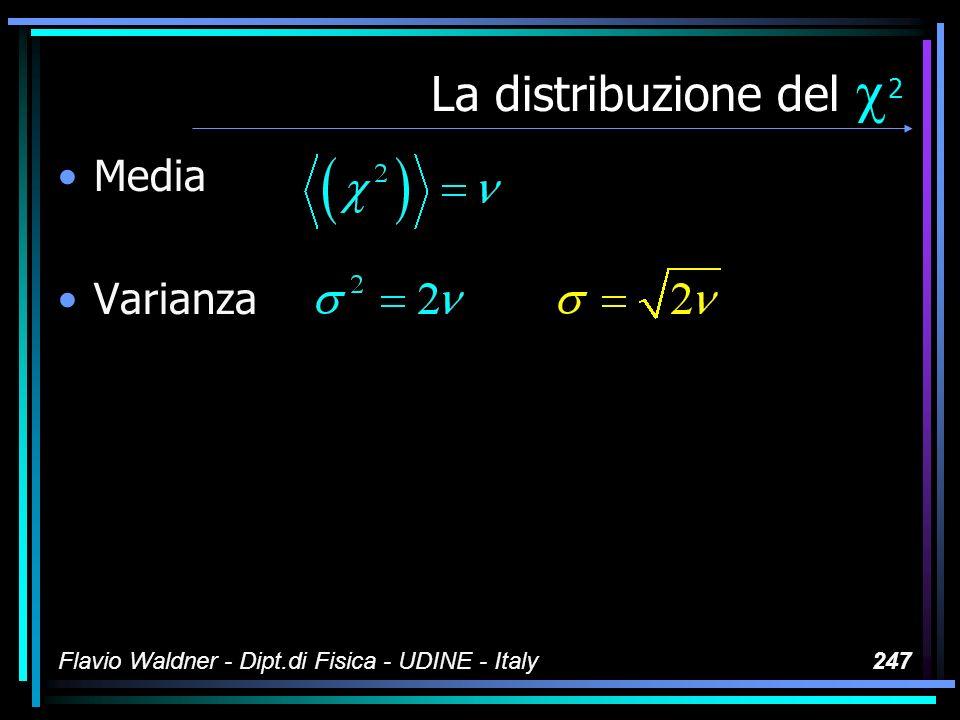 Flavio Waldner - Dipt.di Fisica - UDINE - Italy247 La distribuzione del 2 Media Varianza