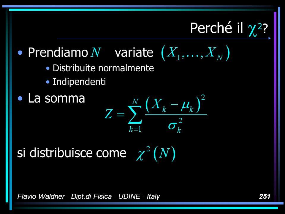 Flavio Waldner - Dipt.di Fisica - UDINE - Italy251 Perché il 2 ? Prendiamo variate Distribuite normalmente Indipendenti La somma si distribuisce come