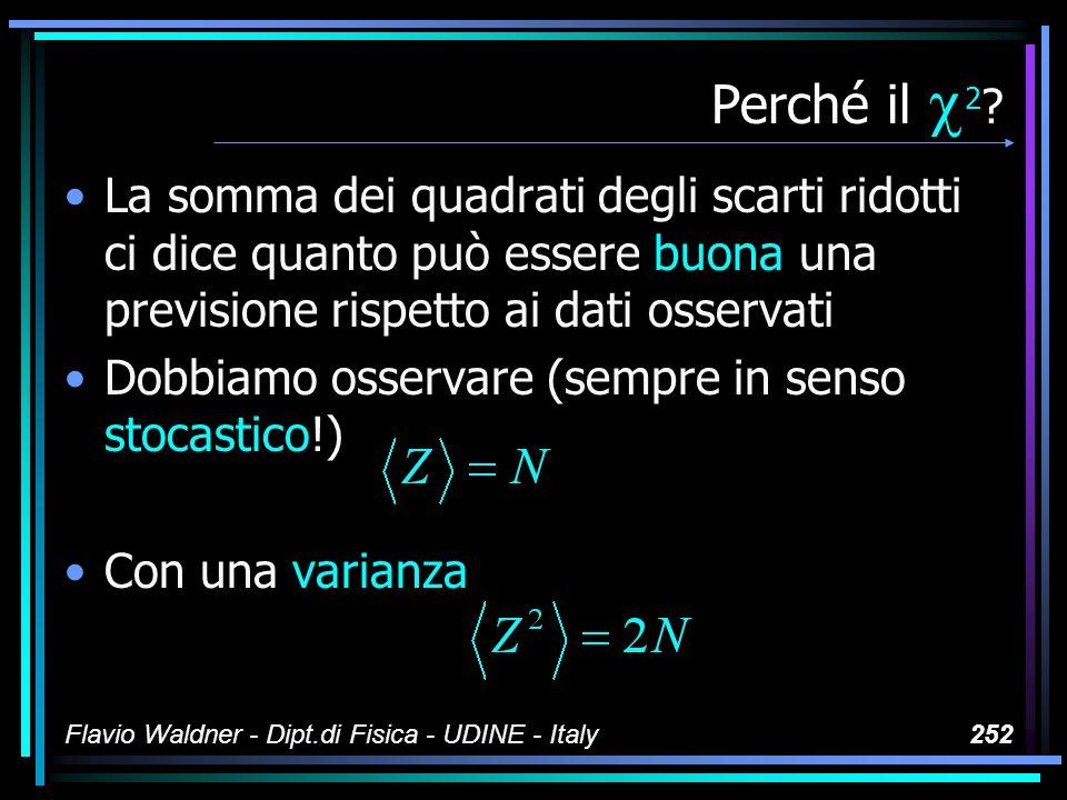 Flavio Waldner - Dipt.di Fisica - UDINE - Italy252 Perché il 2 ? La somma dei quadrati degli scarti ridotti ci dice quanto può essere buona una previs