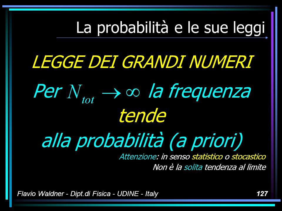 Flavio Waldner - Dipt.di Fisica - UDINE - Italy127 La probabilità e le sue leggi LEGGE DEI GRANDI NUMERI Per la frequenza tende alla probabilità (a pr