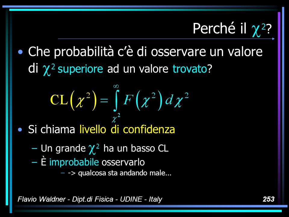 Flavio Waldner - Dipt.di Fisica - UDINE - Italy253 Perché il 2 ? Che probabilità cè di osservare un valore di 2 superiore ad un valore trovato? Si chi