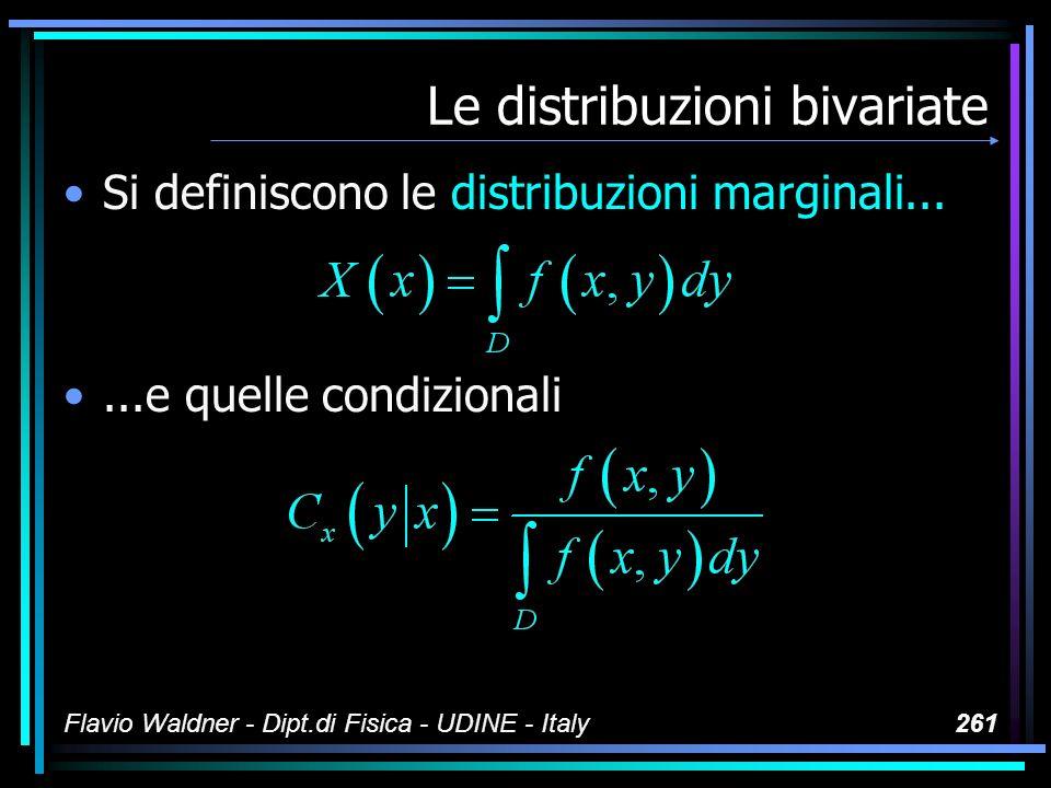 Flavio Waldner - Dipt.di Fisica - UDINE - Italy261 Le distribuzioni bivariate Si definiscono le distribuzioni marginali......e quelle condizionali