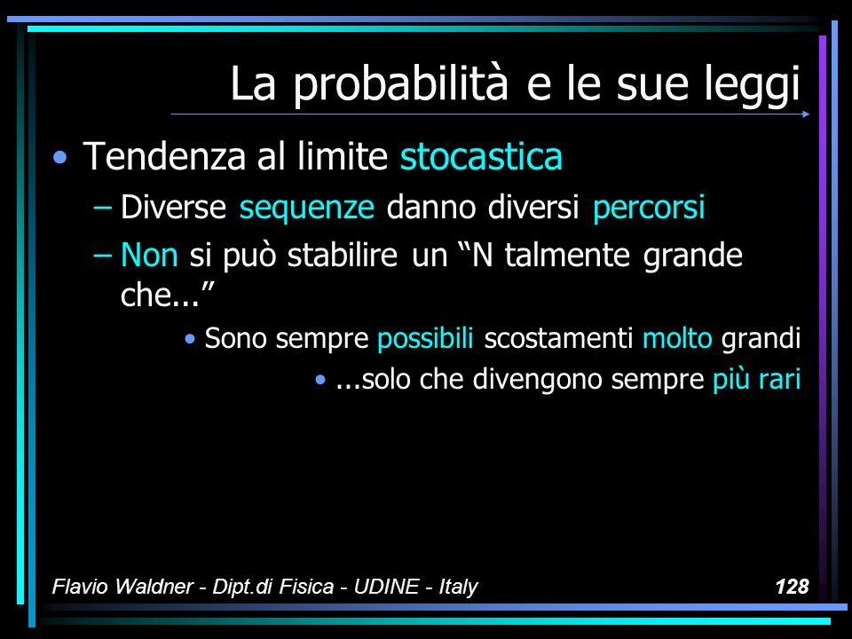 Flavio Waldner - Dipt.di Fisica - UDINE - Italy128 La probabilità e le sue leggi Tendenza al limite stocastica –Diverse sequenze danno diversi percors