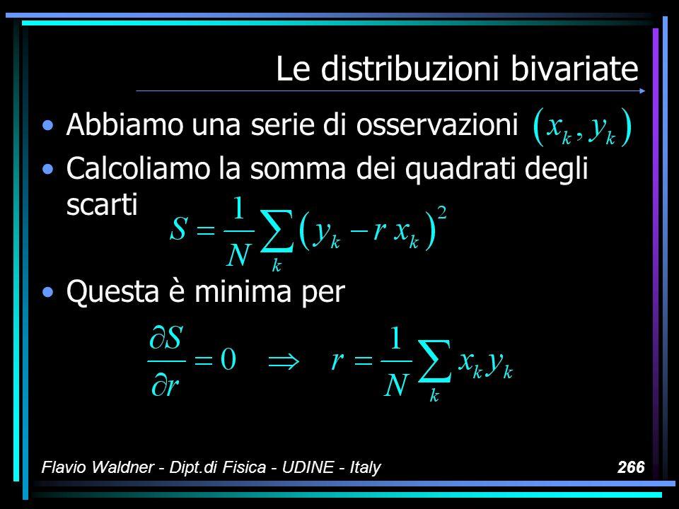 Flavio Waldner - Dipt.di Fisica - UDINE - Italy266 Le distribuzioni bivariate Abbiamo una serie di osservazioni Calcoliamo la somma dei quadrati degli