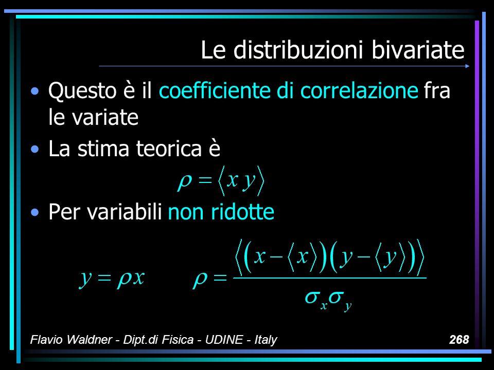 Flavio Waldner - Dipt.di Fisica - UDINE - Italy268 Le distribuzioni bivariate Questo è il coefficiente di correlazione fra le variate La stima teorica
