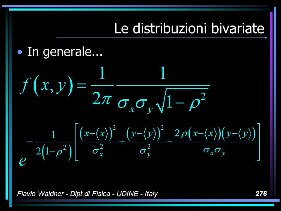Flavio Waldner - Dipt.di Fisica - UDINE - Italy276 Le distribuzioni bivariate In generale...