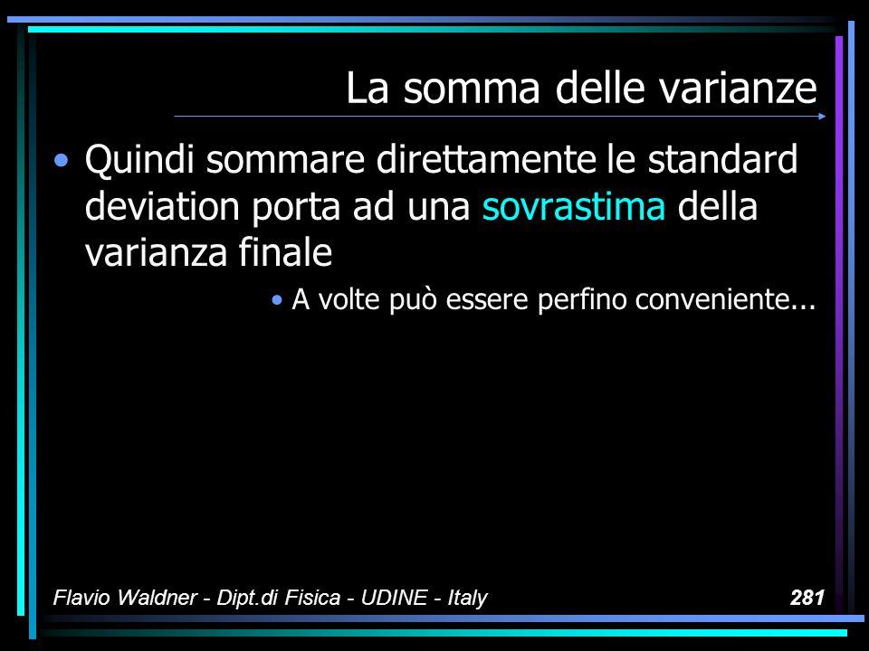 Flavio Waldner - Dipt.di Fisica - UDINE - Italy281 La somma delle varianze Quindi sommare direttamente le standard deviation porta ad una sovrastima d