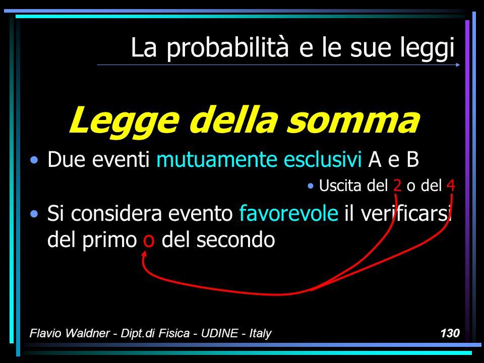 Flavio Waldner - Dipt.di Fisica - UDINE - Italy130 La probabilità e le sue leggi Legge della somma Due eventi mutuamente esclusivi A e B Uscita del 2