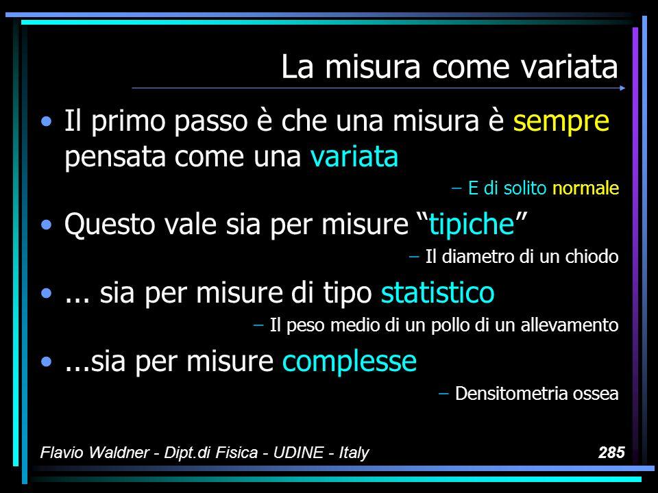 Flavio Waldner - Dipt.di Fisica - UDINE - Italy285 La misura come variata Il primo passo è che una misura è sempre pensata come una variata –E di soli