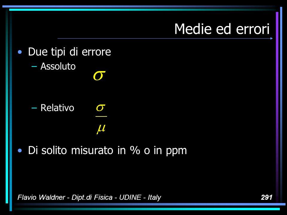 Flavio Waldner - Dipt.di Fisica - UDINE - Italy291 Medie ed errori Due tipi di errore –Assoluto –Relativo Di solito misurato in % o in ppm