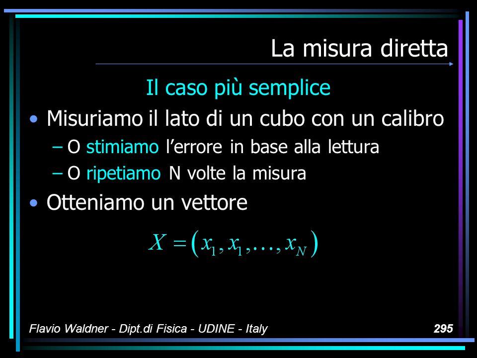Flavio Waldner - Dipt.di Fisica - UDINE - Italy295 La misura diretta Il caso più semplice Misuriamo il lato di un cubo con un calibro –O stimiamo lerr