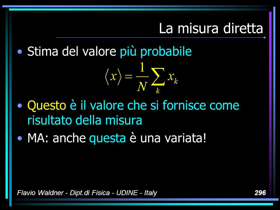 Flavio Waldner - Dipt.di Fisica - UDINE - Italy296 La misura diretta Stima del valore più probabile Questo è il valore che si fornisce come risultato