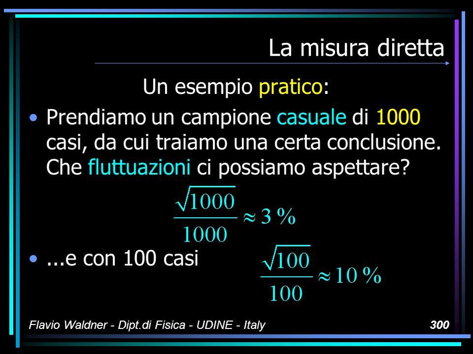 Flavio Waldner - Dipt.di Fisica - UDINE - Italy300 La misura diretta Un esempio pratico: Prendiamo un campione casuale di 1000 casi, da cui traiamo un