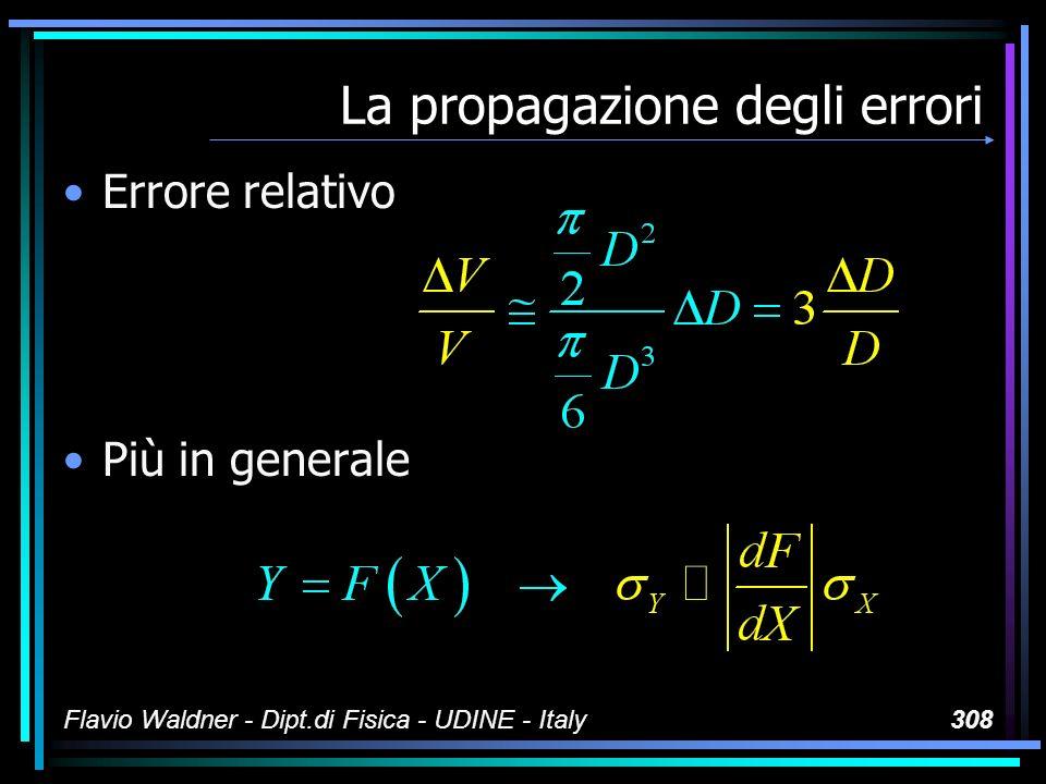 Flavio Waldner - Dipt.di Fisica - UDINE - Italy308 La propagazione degli errori Errore relativo Più in generale