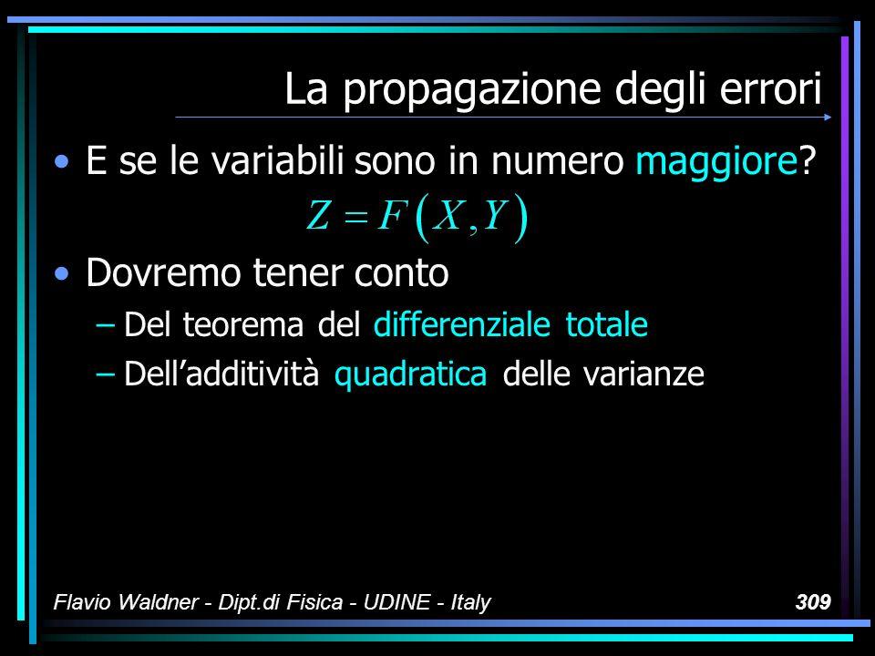 Flavio Waldner - Dipt.di Fisica - UDINE - Italy309 La propagazione degli errori E se le variabili sono in numero maggiore? Dovremo tener conto –Del te
