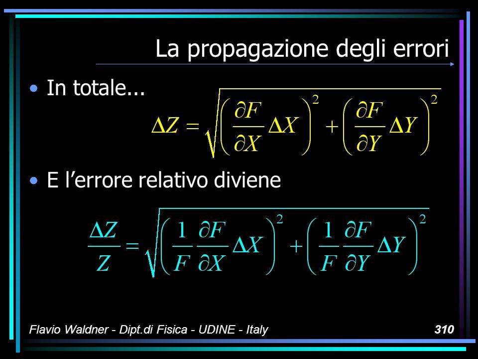 Flavio Waldner - Dipt.di Fisica - UDINE - Italy310 La propagazione degli errori In totale... E lerrore relativo diviene