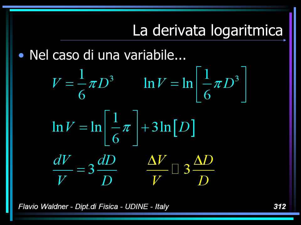 Flavio Waldner - Dipt.di Fisica - UDINE - Italy312 La derivata logaritmica Nel caso di una variabile...