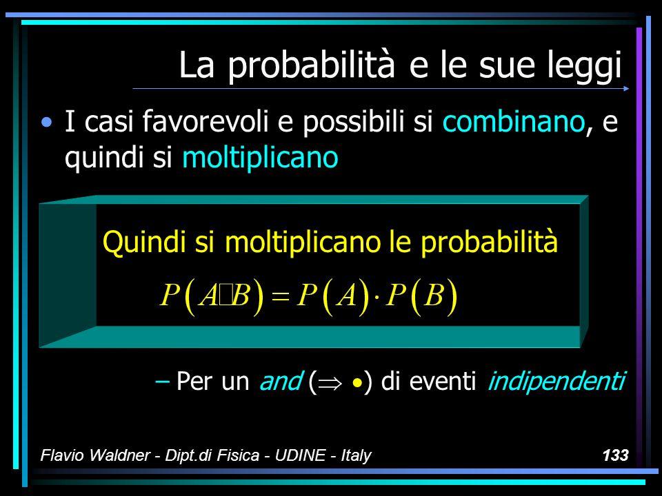 Flavio Waldner - Dipt.di Fisica - UDINE - Italy133 La probabilità e le sue leggi I casi favorevoli e possibili si combinano, e quindi si moltiplicano