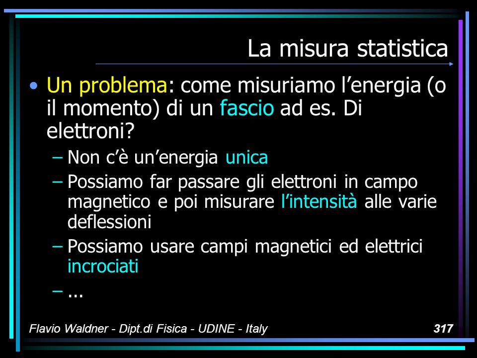 Flavio Waldner - Dipt.di Fisica - UDINE - Italy317 La misura statistica Un problema: come misuriamo lenergia (o il momento) di un fascio ad es. Di ele