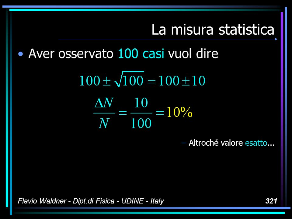 Flavio Waldner - Dipt.di Fisica - UDINE - Italy321 La misura statistica Aver osservato 100 casi vuol dire –Altroché valore esatto...