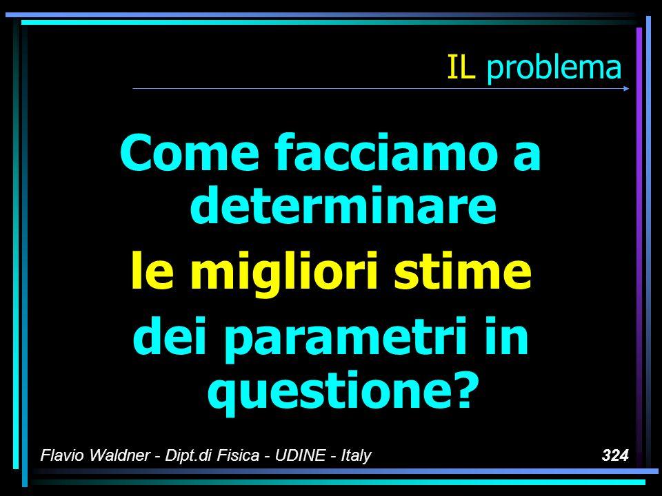 Flavio Waldner - Dipt.di Fisica - UDINE - Italy324 IL problema Come facciamo a determinare le migliori stime dei parametri in questione?