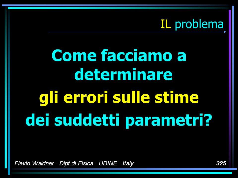 Flavio Waldner - Dipt.di Fisica - UDINE - Italy325 IL problema Come facciamo a determinare gli errori sulle stime dei suddetti parametri?