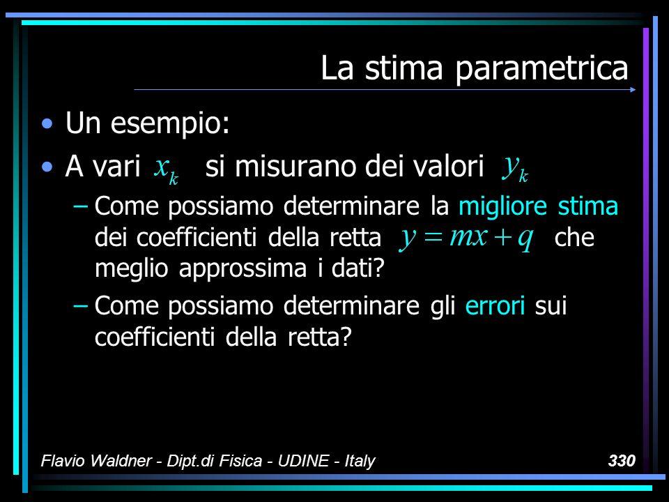 Flavio Waldner - Dipt.di Fisica - UDINE - Italy330 La stima parametrica Un esempio: A vari si misurano dei valori –Come possiamo determinare la miglio
