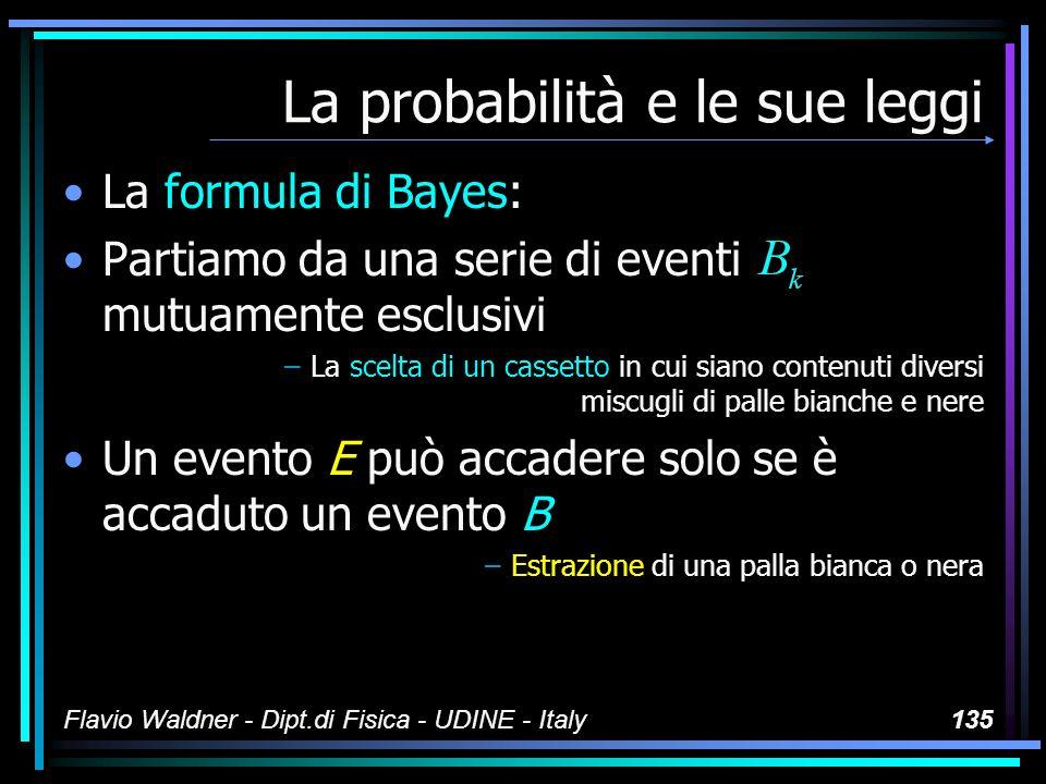 Flavio Waldner - Dipt.di Fisica - UDINE - Italy135 La probabilità e le sue leggi La formula di Bayes: Partiamo da una serie di eventi mutuamente esclu