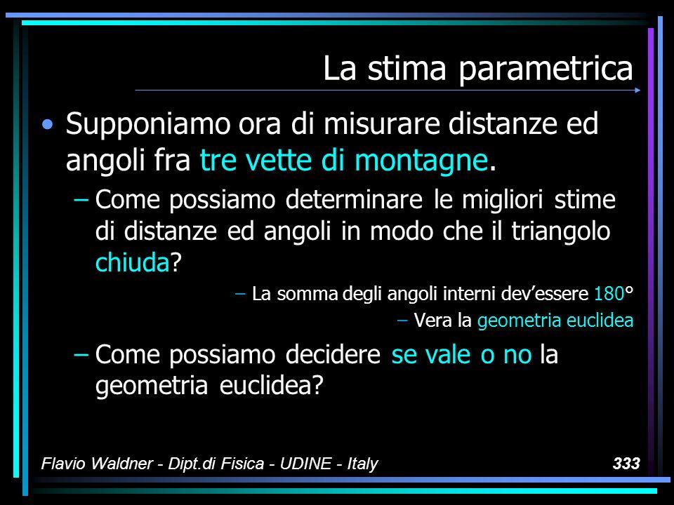 Flavio Waldner - Dipt.di Fisica - UDINE - Italy333 La stima parametrica Supponiamo ora di misurare distanze ed angoli fra tre vette di montagne. –Come