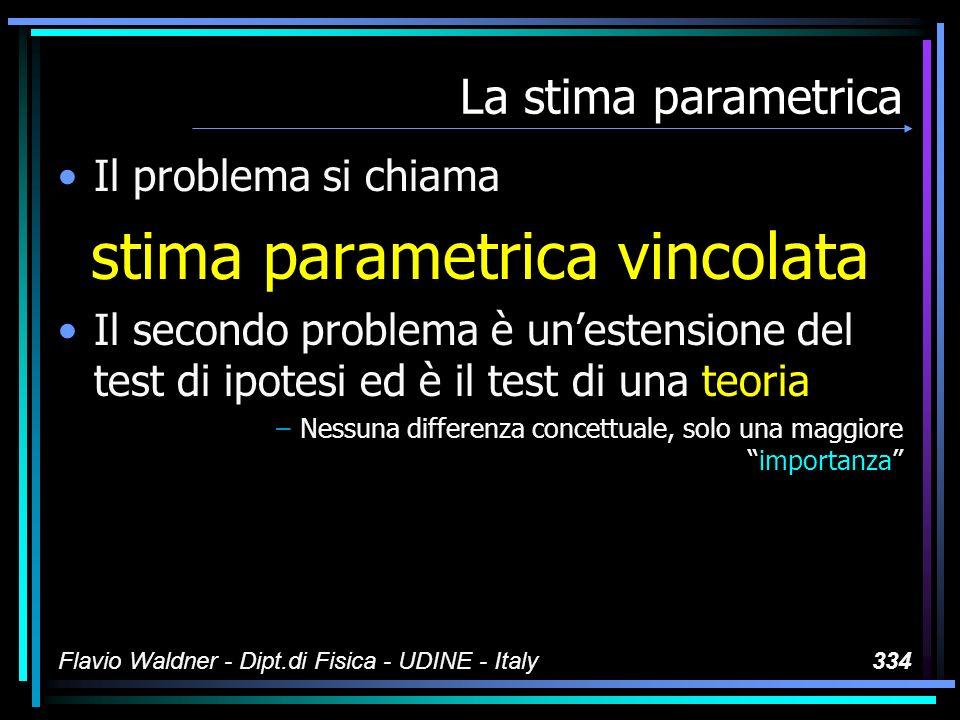 Flavio Waldner - Dipt.di Fisica - UDINE - Italy334 La stima parametrica Il problema si chiama stima parametrica vincolata Il secondo problema è uneste