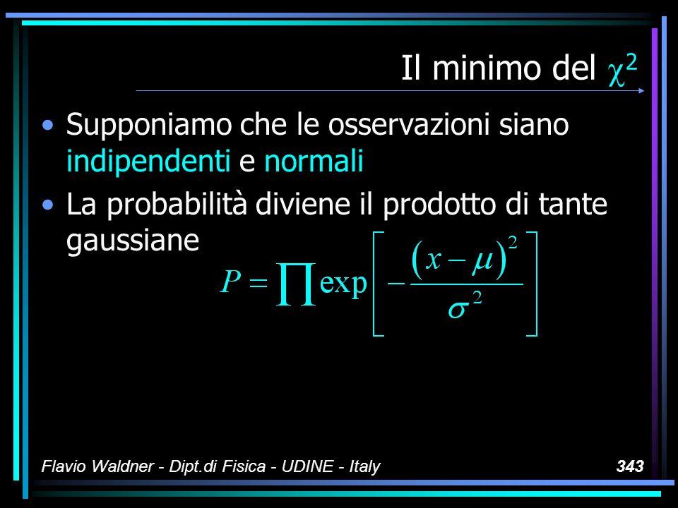Flavio Waldner - Dipt.di Fisica - UDINE - Italy343 Il minimo del 2 Supponiamo che le osservazioni siano indipendenti e normali La probabilità diviene