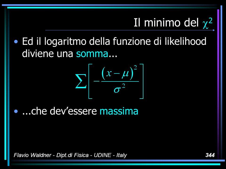 Flavio Waldner - Dipt.di Fisica - UDINE - Italy344 Il minimo del 2 Ed il logaritmo della funzione di likelihood diviene una somma......che devessere m
