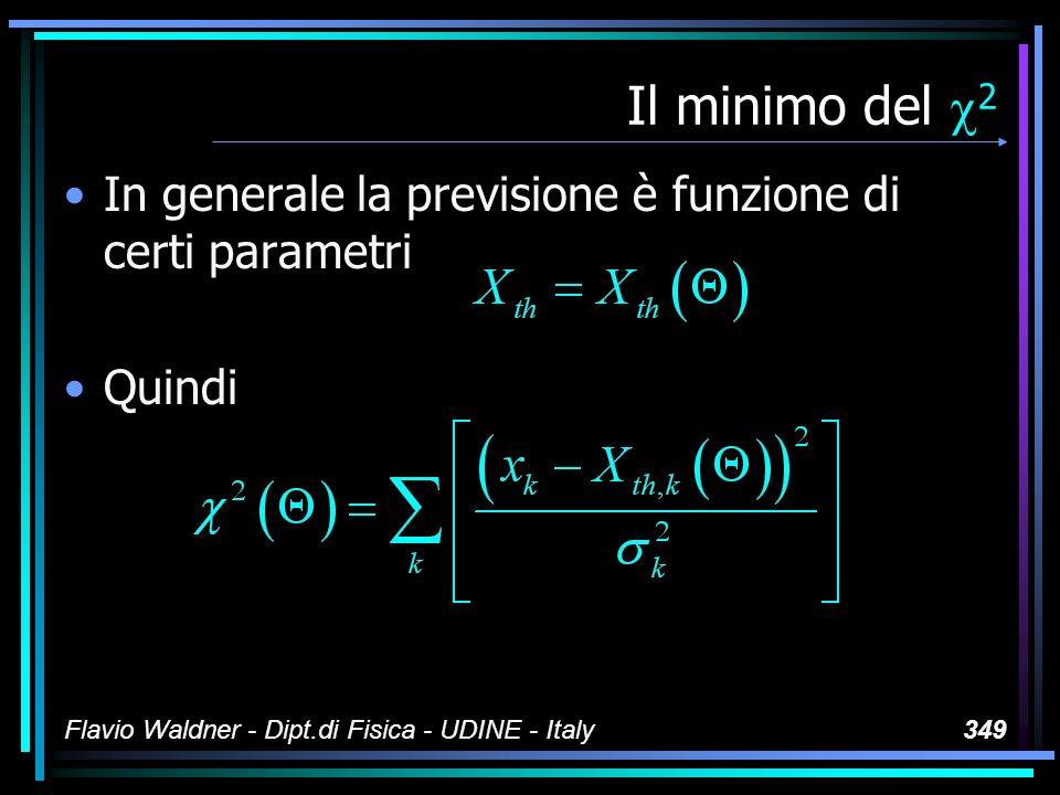 Flavio Waldner - Dipt.di Fisica - UDINE - Italy349 Il minimo del 2 In generale la previsione è funzione di certi parametri Quindi
