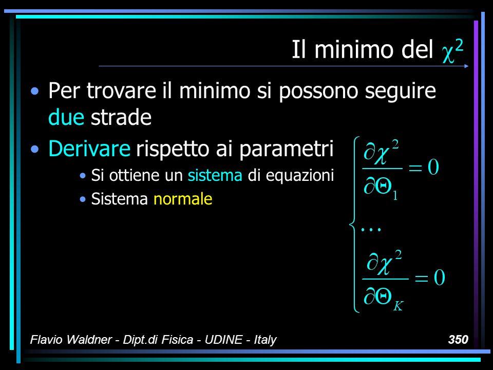 Flavio Waldner - Dipt.di Fisica - UDINE - Italy350 Il minimo del 2 Per trovare il minimo si possono seguire due strade Derivare rispetto ai parametri