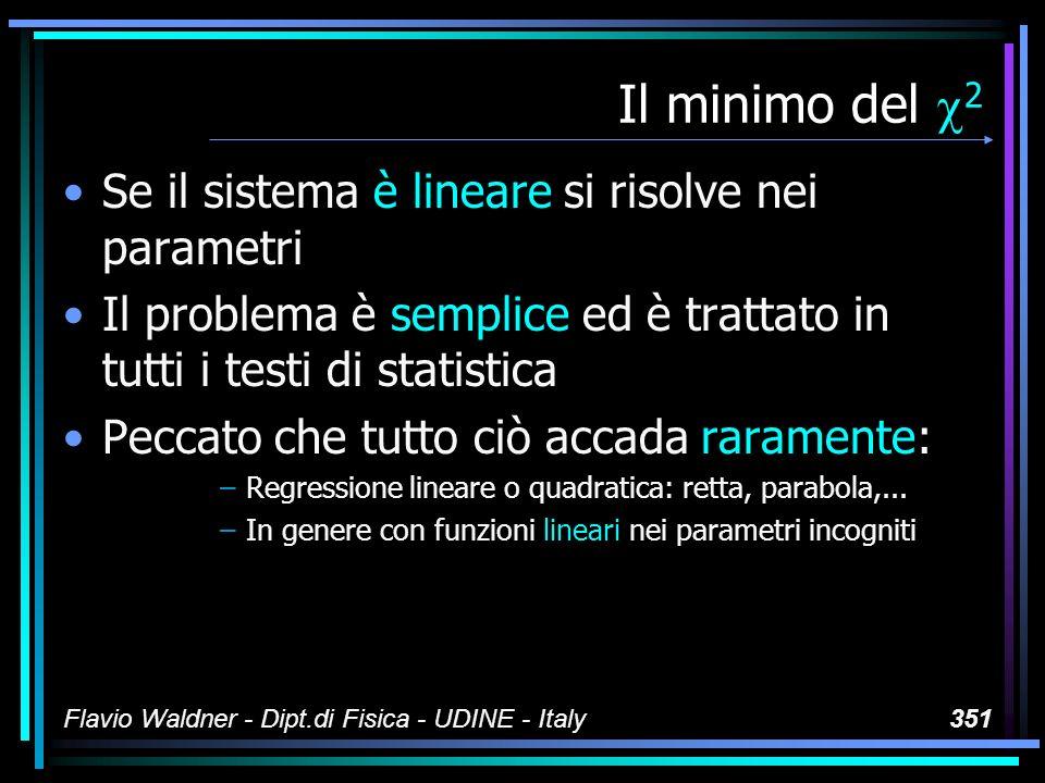 Flavio Waldner - Dipt.di Fisica - UDINE - Italy351 Il minimo del 2 Se il sistema è lineare si risolve nei parametri Il problema è semplice ed è tratta