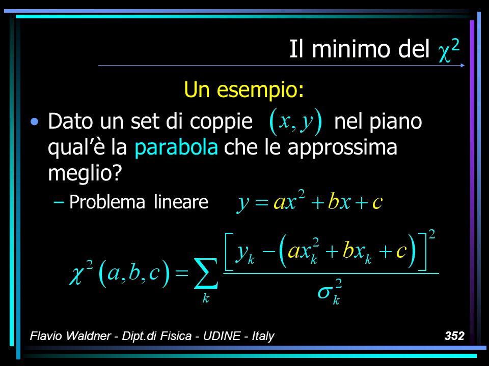Flavio Waldner - Dipt.di Fisica - UDINE - Italy352 Il minimo del 2 Un esempio: Dato un set di coppie nel piano qualè la parabola che le approssima meg