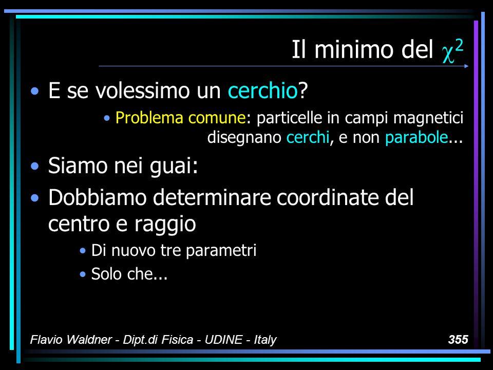 Flavio Waldner - Dipt.di Fisica - UDINE - Italy355 Il minimo del 2 E se volessimo un cerchio? Problema comune: particelle in campi magnetici disegnano