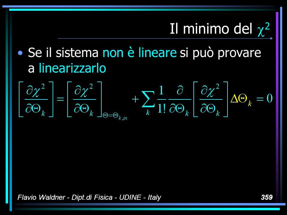 Flavio Waldner - Dipt.di Fisica - UDINE - Italy359 Il minimo del 2 Se il sistema non è lineare si può provare a linearizzarlo