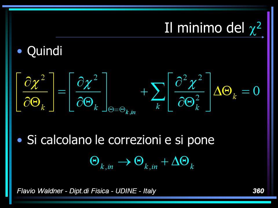 Flavio Waldner - Dipt.di Fisica - UDINE - Italy360 Il minimo del 2 Quindi Si calcolano le correzioni e si pone