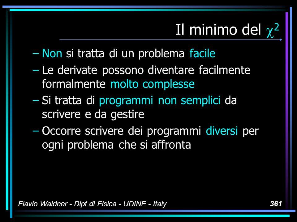 Flavio Waldner - Dipt.di Fisica - UDINE - Italy361 Il minimo del 2 –Non si tratta di un problema facile –Le derivate possono diventare facilmente form