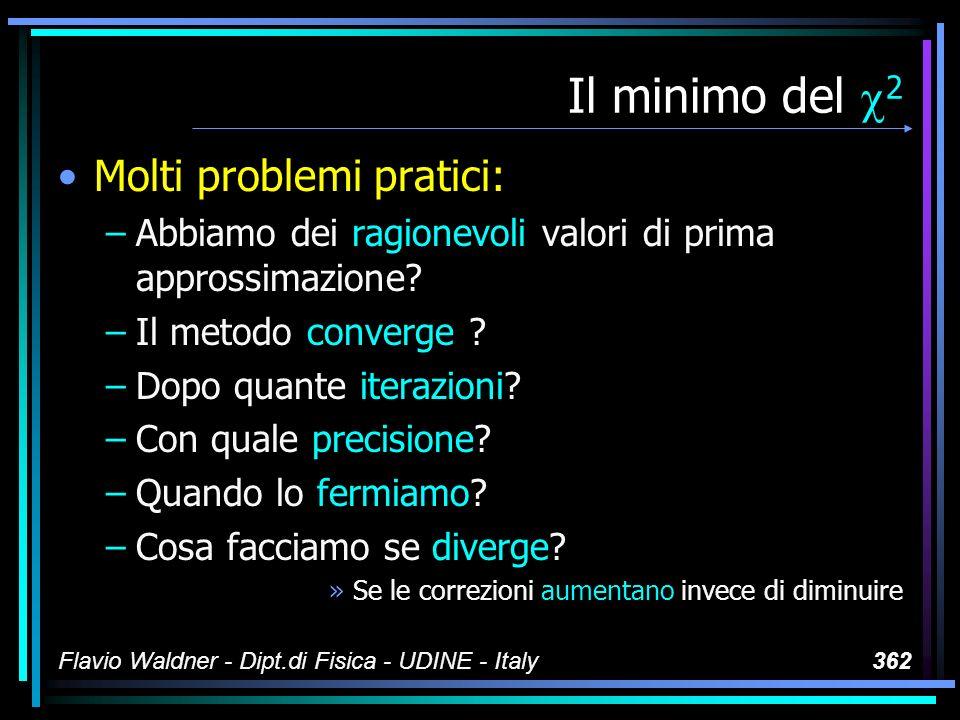 Flavio Waldner - Dipt.di Fisica - UDINE - Italy362 Il minimo del 2 Molti problemi pratici: –Abbiamo dei ragionevoli valori di prima approssimazione? –