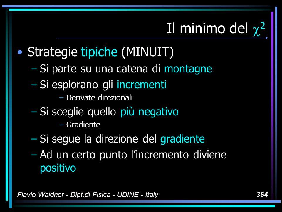 Flavio Waldner - Dipt.di Fisica - UDINE - Italy364 Il minimo del 2 Strategie tipiche (MINUIT) –Si parte su una catena di montagne –Si esplorano gli in