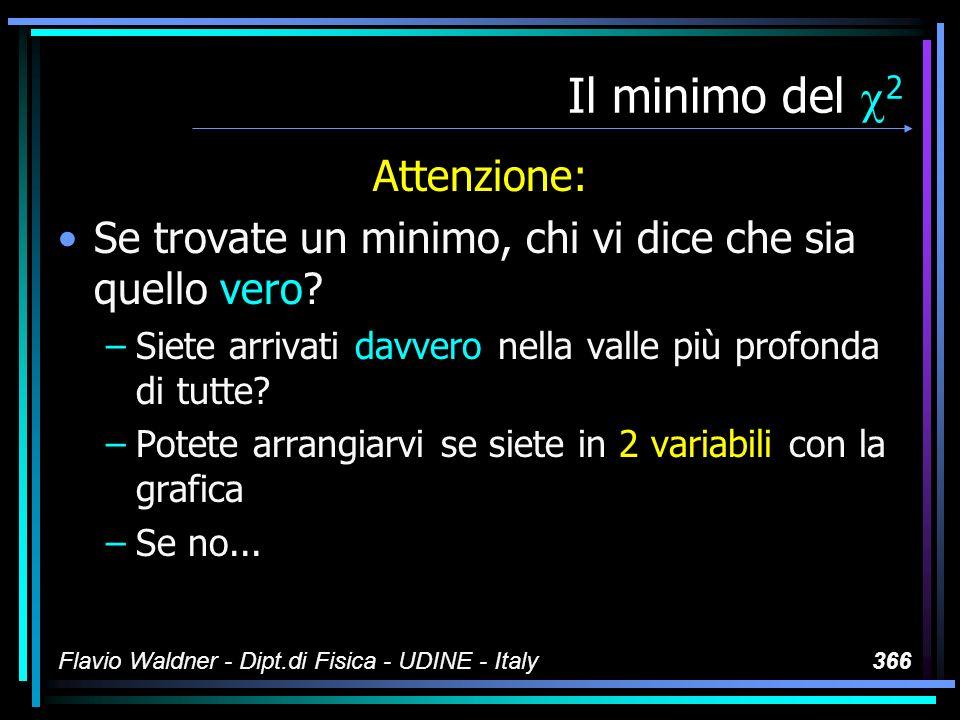 Flavio Waldner - Dipt.di Fisica - UDINE - Italy366 Il minimo del 2 Attenzione: Se trovate un minimo, chi vi dice che sia quello vero? –Siete arrivati