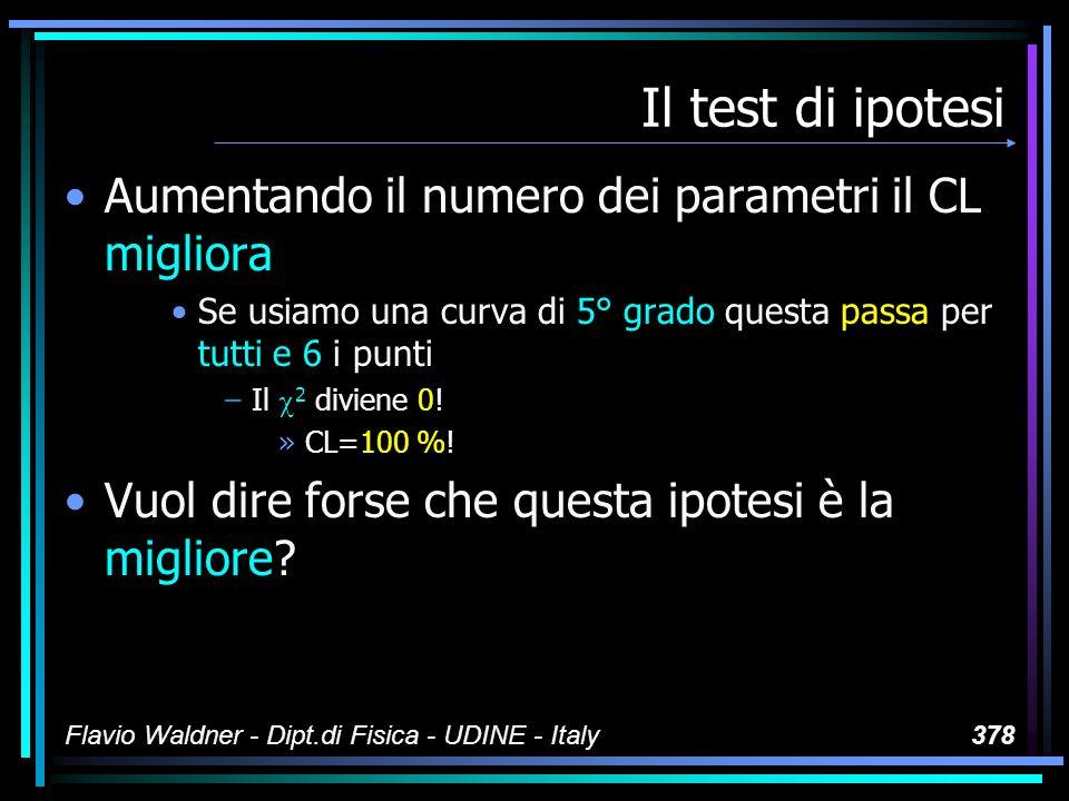Flavio Waldner - Dipt.di Fisica - UDINE - Italy378 Il test di ipotesi Aumentando il numero dei parametri il CL migliora Se usiamo una curva di 5° grad