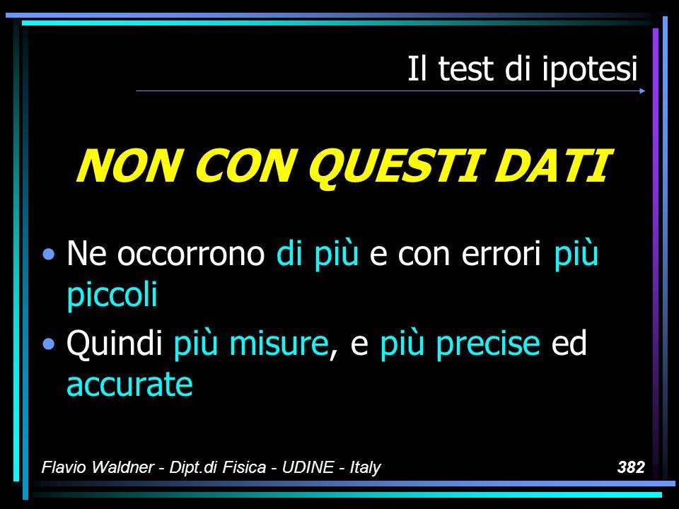 Flavio Waldner - Dipt.di Fisica - UDINE - Italy382 Il test di ipotesi NON CON QUESTI DATI Ne occorrono di più e con errori più piccoli Quindi più misu