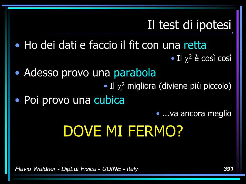 Flavio Waldner - Dipt.di Fisica - UDINE - Italy391 Il test di ipotesi Ho dei dati e faccio il fit con una retta Il 2 è così così Adesso provo una para