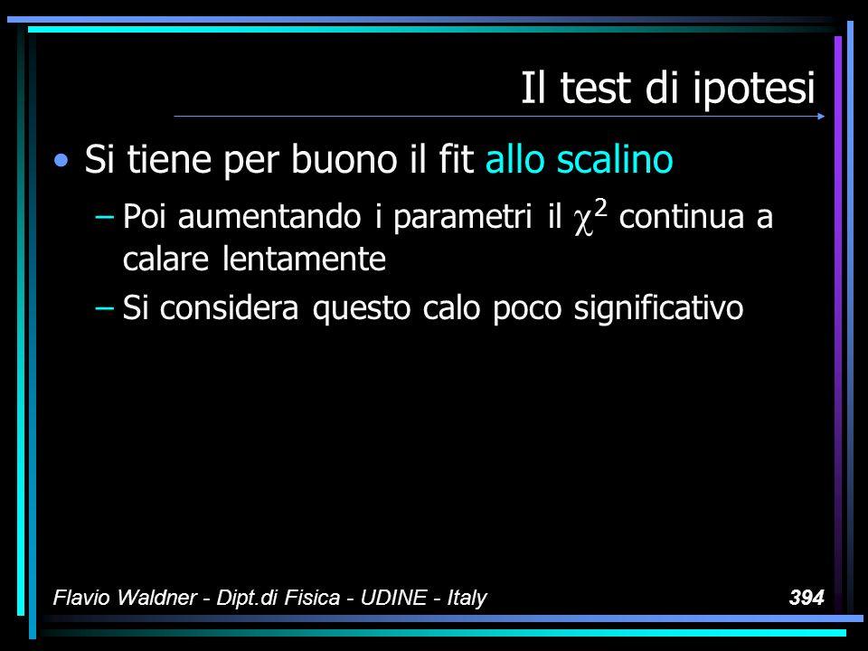 Flavio Waldner - Dipt.di Fisica - UDINE - Italy394 Il test di ipotesi Si tiene per buono il fit allo scalino –Poi aumentando i parametri il 2 continua