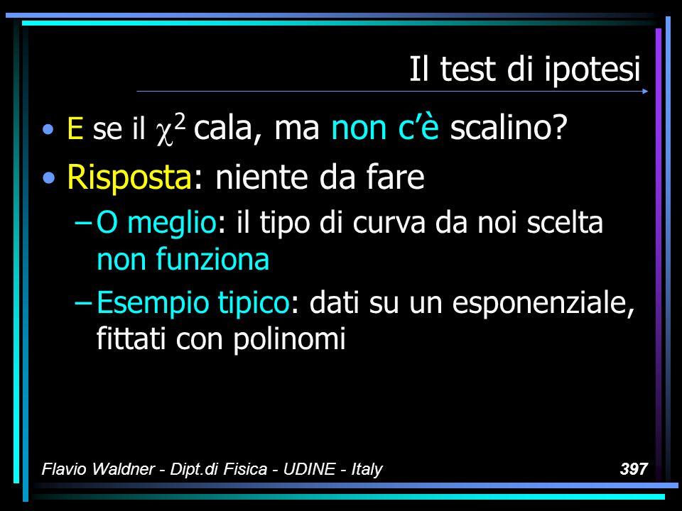 Flavio Waldner - Dipt.di Fisica - UDINE - Italy397 Il test di ipotesi E se il 2 cala, ma non cè scalino? Risposta: niente da fare –O meglio: il tipo d